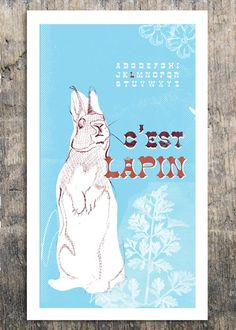 French Alphabet  C'est Lapin  Rabbit Print  by Bark by barkdecor on etsy