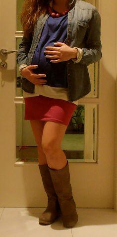 Maternity fashion pencil skirt spring denim shirt pregnancy colour blocking cute comfy outfit