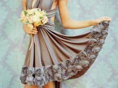 Grey rosette dress. Two birds bridesmaid.