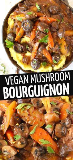 Mushroom Bourguignon, Bourguignon Recipe, Mushroom Stew, Mushroom Recipes, Roasted Mushrooms, Stuffed Mushrooms, Stuffed Peppers, Fluffy Mashed Potatoes, Potluck Dishes