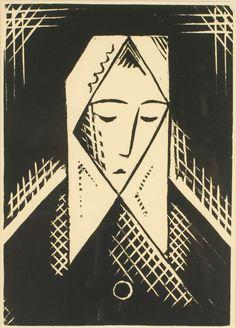 Josef Čapek (1887-1945), HEAD OF A WOMAN, linocut