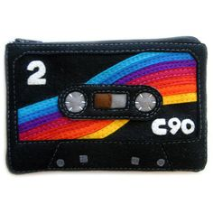 Cassette Tape Zip Pouch iPhone Case Clutch Coin Purse Rainbow Mix Tape... (£40) ❤ liked on Polyvore featuring bags, handbags, clutches, purses, man bag, purse pouch, pouch purse, hand bags and cell phone pouch purse