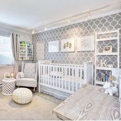"""""""Pretty! We love this stenciled wall in this darling, gender neutral nursery. Thanks for sharing with us, @Mahal219. Want to be featured? Tag…"""""""