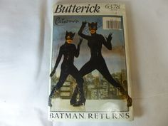 Catwoman Sewing Pattern Butterick # 6378 Batman Returns Un-cut Cosplay Vintage 1992 by AnythingsForSale on Etsy