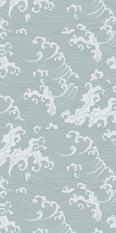 Feathr - Japanese Wave Wallpaper to wallpaper with paste Look Wallpaper, Cute Patterns Wallpaper, Iphone Background Wallpaper, Pastel Wallpaper, Screen Wallpaper, Aesthetic Iphone Wallpaper, Aesthetic Wallpapers, Japanese Wallpaper Iphone, Waves Wallpaper Iphone