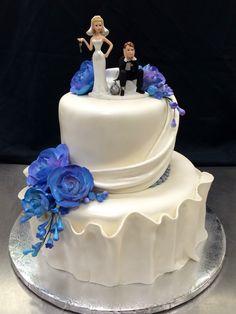 Wedding Cake Buttercream bold scrolls purple dregees Cake by