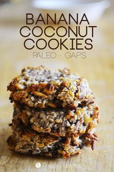Grain-Free Banana Coconut Cookies Grain free Banana Coconut Cookies -also dairy-free, egg-free, sugar-free, but full of deliciousness! Your kids are going to love this easy, healthy snack! Paleo Snack, Paleo Dessert, Healthy Sweets, Gluten Free Desserts, Dairy Free Recipes, Healthy Baking, Vegan Desserts, Whole Food Recipes, Delicious Desserts