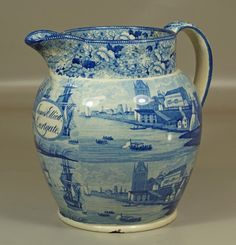Monumental English, blue and white pitcher; harbor : Lot 13248