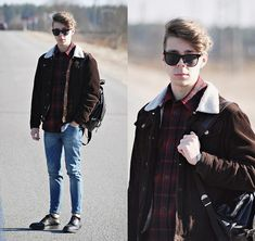 Pull & Bear Denim Skinny Jeans, H&M Black Leather Oxford Shoes, Primark Brown Suede Bomber Jacket, Black Leather Backpack, Primark Black Sunglasses, H&M Cotton Shirt