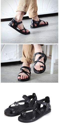 b74a2b8e30e 2015 new men s fashion sandals trend genuine leather beach gladiator men  shoes…