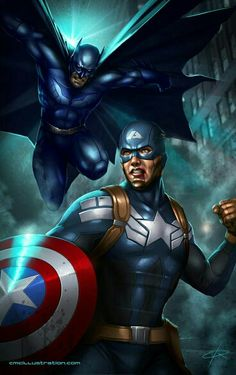 Marvel vs DC: Batman vs Captain America by Aioras Nightwing, Batgirl, Catwoman, Comic Book Characters, Comic Book Heroes, Comic Books Art, Comic Art, Book Art, Marvel Comics