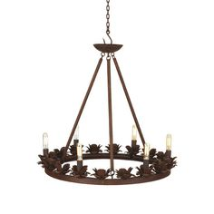 The Modish Rustic Rose Iron Chandelier brings the beauty and elegance of the Victorian Era right to your dinner table. Six 40-watt bulbs simulate a candlelight