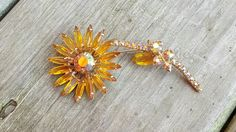 Vintage Juliana D&E Style Topaz Amber AB Aurora Borealis Floating Wire Skinny Navette Statement Flower Brooch Pin, Autumn Fall Flower Pin