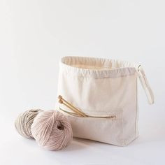 BAMBOO in organic cotton Project bag Knitting bag Crochet