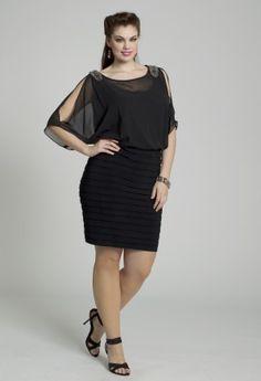 R Richards Plus Size Dress, Three Quarter Flutter Sleeve One ...