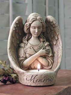 Handmade Cast Stone Angel with Memories Message Votive Candle Holder Votive Candle Holders, Votive Candles, Handmade Candles, Handmade Decorations, Stone Garden Statues, Floral Vintage, Elves And Fairies, Memorial Gifts, Memorial Candles