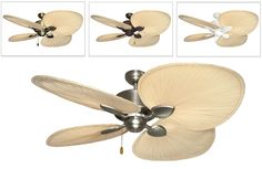 Palm Breeze II Tropical Ceiling Fan With 56 Inch Natural Blades