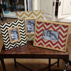 New #chevron picture frames in all different shapes and sizes. Here's a little smackerel to feast your eyes on! #Rodworks #unique #decor