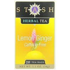 KeHE Distributors Stash Tea Lemon Ginger Herbal Tea, 20 Count Tea Bags In Foil (Pack Of 6)