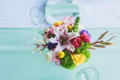 Ligh mint table linens and Bright Color Flower Centerpieces, such a Beautiful contrast! Mint Table, Flower Centerpieces, Table Linens, Contrast, Reception, Bright, Table Decorations, Flowers, Color