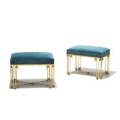 "Pair of ""Ondulation"" benches by Jean Royère (1902-1984), in gilded wrought iron and cast brass, upholstery fabric likely original, France, 1950s"