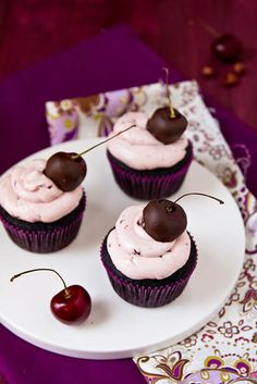 Chocolate Covered Cherry Cupcakes -with recipe link-