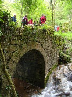 En admirant le vieux pont et la cascade de Saunhac