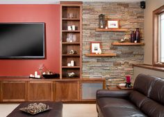Floating Shelves Around Tv Design Ideas, Pictures, Remodel, and Decor - page 2 TV wall ideas