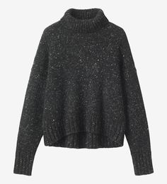 CASHMERE FUNNEL NECK SWEATER | Softest funnel neck sweater in a neppy cashmere yarn. Square cut with dropped shoulders and long, cosy sleeves with ribbed neck, cuffs and elliptical hem.
