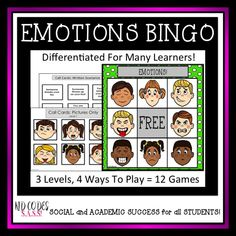 Emotions BINGO! Differentiated for k-3rd grade. Small groups play. https://www.teacherspayteachers.com/Product/EMOTIONS-BINGO-Differentiated-For-Multiple-Ability-Levels-2959980
