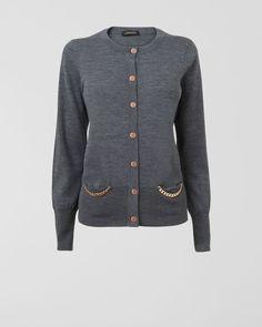 Merino Chain Trim Cardigan,Grey,original