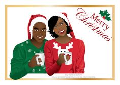 Christmas card of a beautiful and happy dark skin african american couple wearing christmas sweaters and santa's hat having hot chocolate. Christmas Couple, Black Christmas, Christmas Art, African Christmas, Indian Bride And Groom, Funny Boy, Black Couples, Santa Hat, Dark Skin