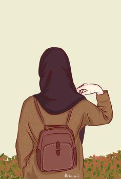Cute Girl Drawing, Cartoon Girl Drawing, Girl Cartoon, Cartoon Drawings, Cute Drawings, Cute Cartoon Wallpapers, Cute Wallpaper Backgrounds, Islamic Cartoon, Hijab Cartoon