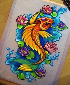 Japanese Embroidery Fish Colorful Koi Fish Tattoo Layouts - Japanese Dragon Koi Fish Tattoo Designs, Drawings and Outlines. The inspirational best red and blue koi tattoos for on your sleeve, arm or thigh. Koi Tattoo Design, Tattoo Design Drawings, Sketch Tattoo, Tattoo Ink, Arm Tattoo, Japanese Koi Fish Tattoo, Koi Fish Drawing, Fish Drawings, Realistic Drawings