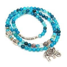 Natural Agate Crystal Vintage multi-layer Blue Tourmaline Buddha Head Bracelets at Banggood