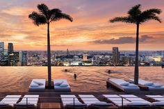 Designed by renowned architect Moshe Safdie, this example at Singapore's Marina Bay Sands is one of the largest rooftop pools in the world. And at 57 stories up, it offers one of the best views, too. From $383/night; marinabaysands.com
