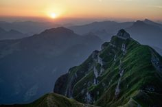 Sunrise over Kanisfluh in the Bregenz Forest Mountains - Vorarlberg, Austria by Katrina Qerri Forest Mountain, Austria, Mount Everest, Sunrise, Travel Photography, Places To Visit, To Go, Mountains, Blogging