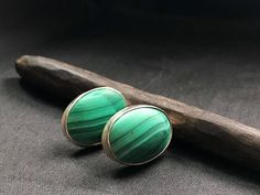 ✨Just listed in sugardrawers.etsy.com Vintage Navajo Sterling Silver and Honed Malachite Pierced Earrings - Earrings, Pierced Earrings, Navajo Malachite Earrings
