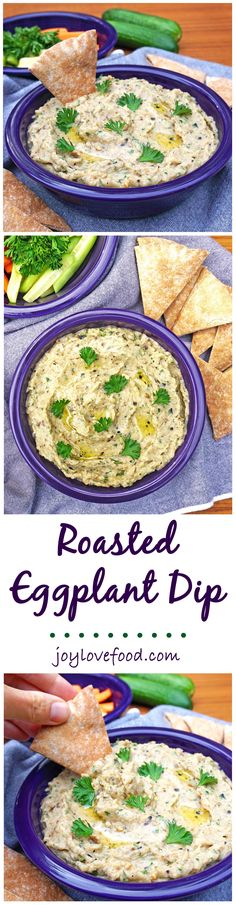 Roasted Eggplant Dip – a delicious dip filled with smoky eggplant flavor, perfect for your next party, game day or get together, it is also wonderful as a sandwich filling.