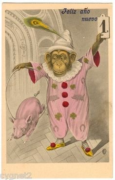 DESCRIPTION: Original postcard with clown-dressed MONKEY and PIG with New Year greetings. Excellent unused condition; m easures approximately 3.5  x 5.5 . All items are ORIGINAL , not reprints, unles