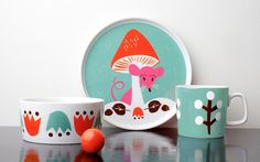 Vaisselle aux graphismes d'inspiration scandinave pour enfantTableware for Kids by Darling Clementine