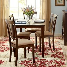 Dining Table and Chair Set in Gorgeous Espresso Finish  This Elegant 5 Piece Kitchen or Dining Room Furniture Is Sturdy and Durable  Microfiber Upholstered Side Chair  30 Days Warranty * For more information, visit image link.