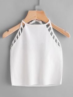 Shop Ladder Cutout Halter Lace-Up Top online. SheIn offers Ladder Cutout Halter Lace-Up Top & more to fit your fashionable needs. Girls Fashion Clothes, Teen Fashion Outfits, Outfits For Teens, Girl Fashion, Summer Outfits, Girl Outfits, Fashion Dresses, Fashion Tips, Crop Top Outfits