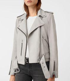 Womens Balfern Leather Biker Jacket (Light Grey) - product_image_alt_text_4
