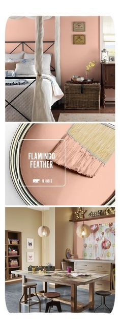 Bring out your inner girly girl with a little help from BEHR's new Color of the Month: Flamingo Feather. This warm blush hue would add a glamorous style to any room in your home. Try pairing this modern paint color with gold, white, and warm wood accents Modern Paint Colors, Bedroom Paint Colors, Paint Colours, Copper Paint Colors, Warm Bedroom Colors, Home And Deco, Trendy Bedroom, Bedroom Modern, Bedroom Small