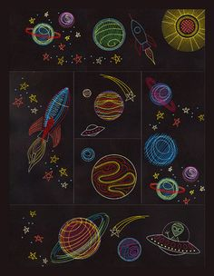 Outer Space in 3-D embroidery collection comes with complete instructions for creating this wall hanging.