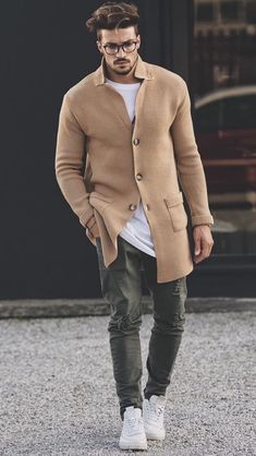 Camel coat ripped denim white sneakers white shirt #streetstyle #streetwear #streetfashion #camelcoat #menswear #whitesneakers #menstyle #mensfashion #rippeddenim