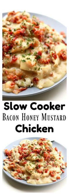 Slow Cooker Bacon Honey Mustard Chicken –tender bites of chicken, mushrooms and bacon with a creamy honey mustard sauce made easy in your slow cooker.  #slowcooker #crockpot