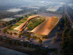 IAD designed the 'Retail park in Sainte Geneviève des Bois' in Paris, France. http://en.51arch.com/2013/08/a835-retail-park-in-sainte-genevieve-des-bois/