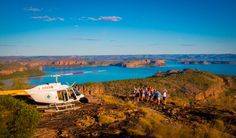 Guests enjoy a heli picnic at Manning Peak in the Kimberley